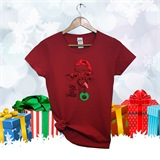Christmas Giraffe Ladies Printed Tee - Xmas-6