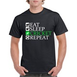 Eat Sleep Cricket Repeat Printed T-Shirt - SPO005