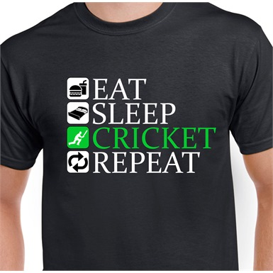 Eat Sleep Cricket Repeat Printed T-Shirt