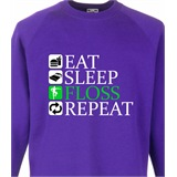 Eat Sleep Floss Repeat Kids Printed Sweatshirt - KID019SW