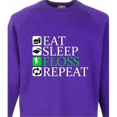 Eat Sleep Floss Repeat Kids Printed Sweatshirt