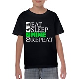 Eat Sleep Mine Repeat Kids Printed T-Shirt - KID017