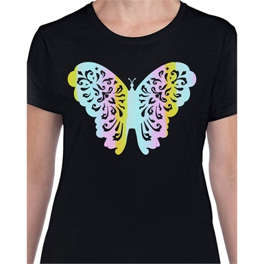 Foil Butterfly Printed Ladies T-Shirt
