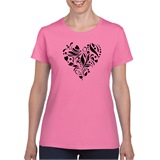 Heart Stencil Ladies Printed T-Shirt - heart