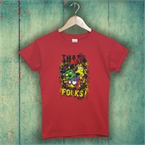 Red That's All Folks Printed T-Shirt - FUN002