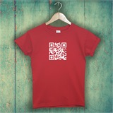 Red with White QR Code Mens T-Shirt - MQRT