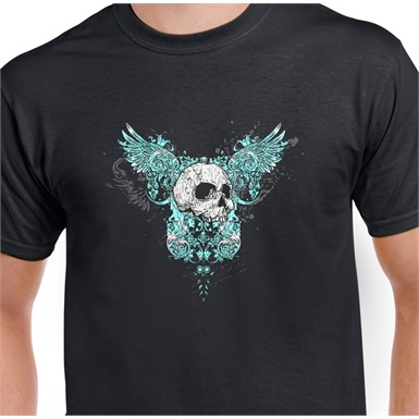 Winged Skull Printed T-Shirt